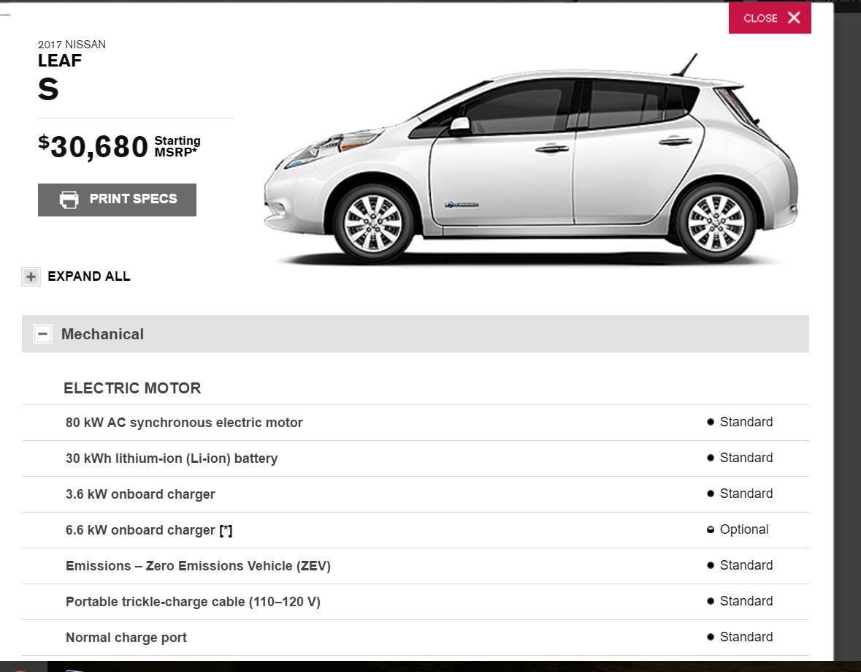 Nissan Leaf - технические характеристики и комплектации